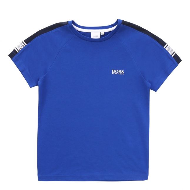 Boys Wave Blue Logo Trim S/s T Shirt