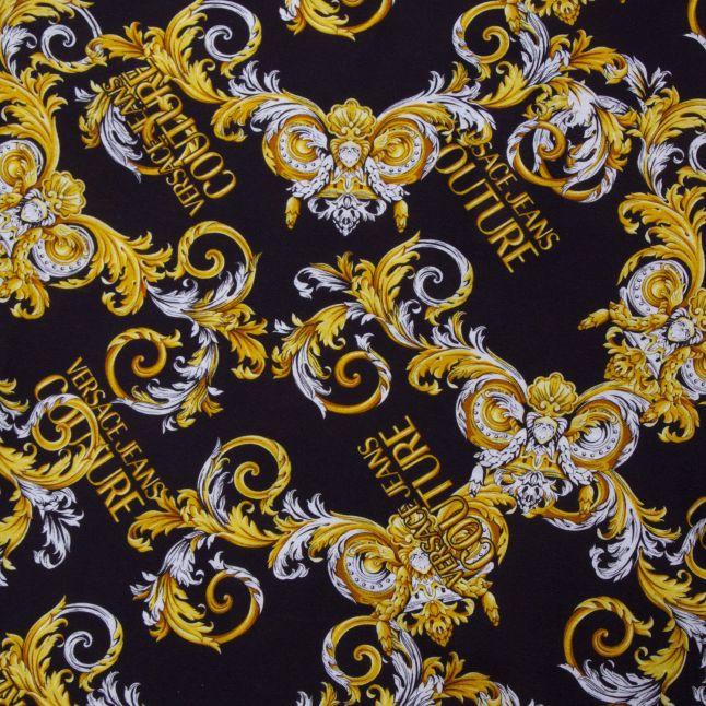 Mens Black Baroque Print Slim Fit S/s T Shirt