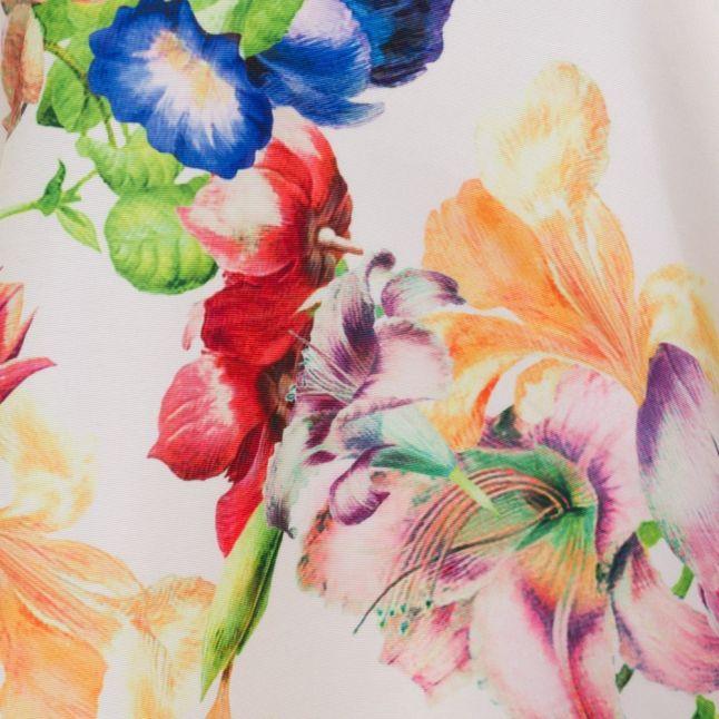 Womens Light Yellow Tutsi Tapestry Floral Full Skirt Dress