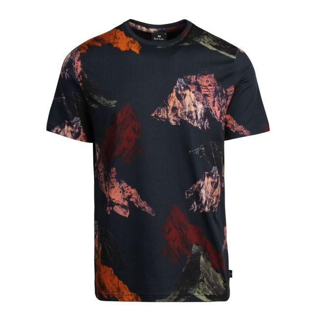 Mens Dark Navy Mountain Graphic Regular Fit S/s T Shirt