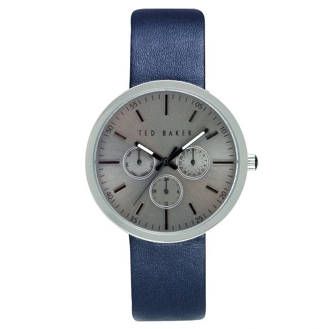 Mens Grey Dial Blue Multifunctional Leather Strap Watch