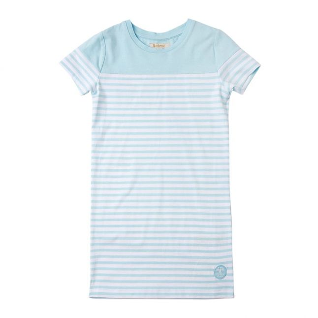 Girls Aqua Renishaw Stripe Tee Shirt Dress