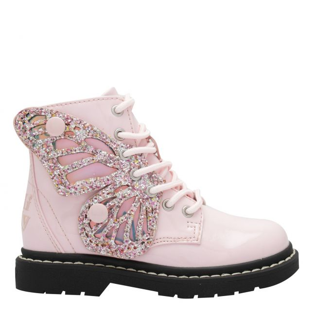 Girls Pink Patent Fairy Wings Boots (26-35)