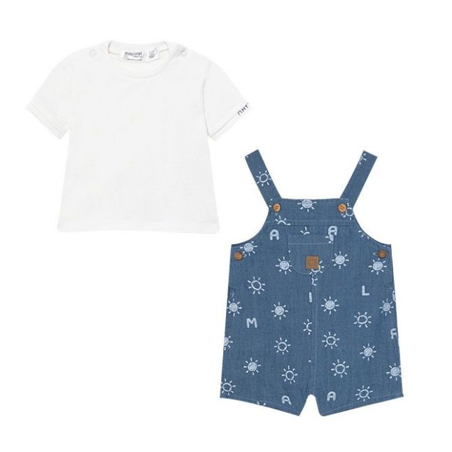 Baby White/Blue Top & Dungarees Set