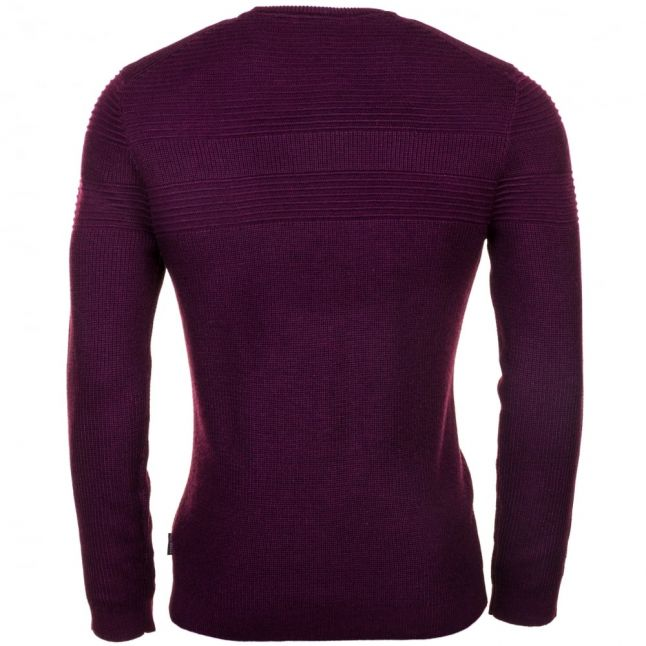 Mens Purple Rossi Mixed Stitch Knitted Jumper