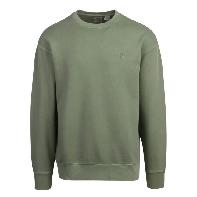 Mens Green Authenthic Logo Crew Sweat Top