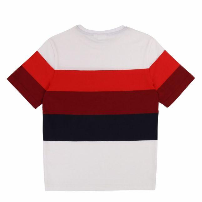 Boys White Red Multi Stripe Small Logo S/s T Shirt