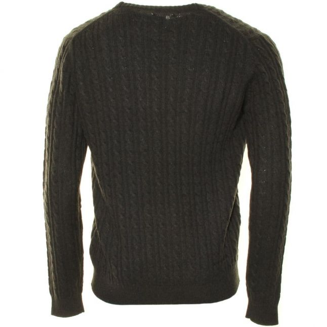 Mens Evergreen Marl Kirtley Cable Crew Knitted Jumper