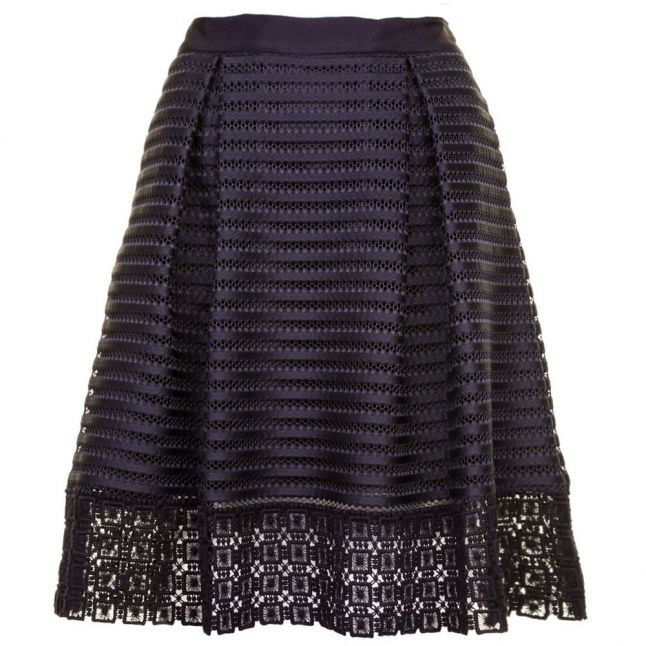 Womens Navy Lotee Lace & Mesh Panelled Skirt