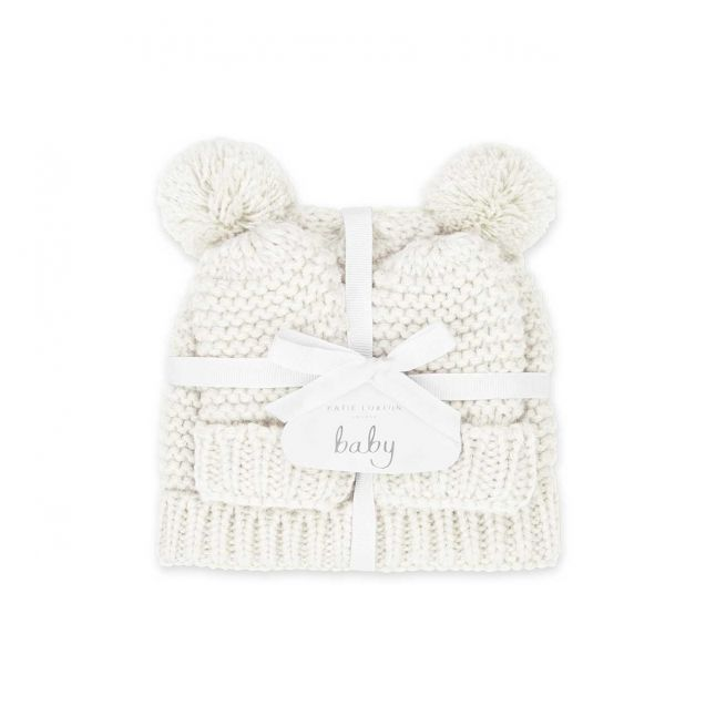 Baby White Hat & Mittens Set