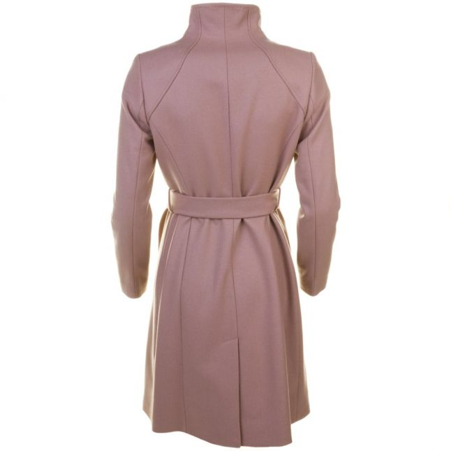 Womens Camel Aurore Long Wrap Collar Coat