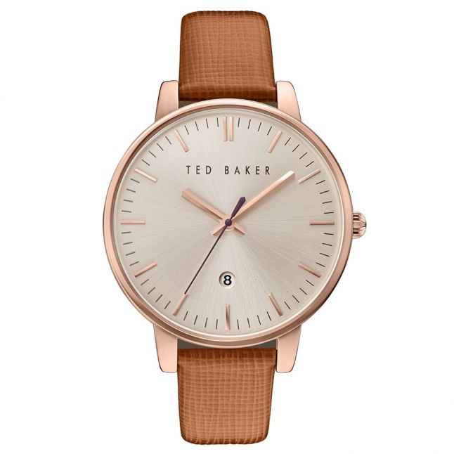 Womens Tan, Rose Gold & Silver Saffiano Leather Strap Watch