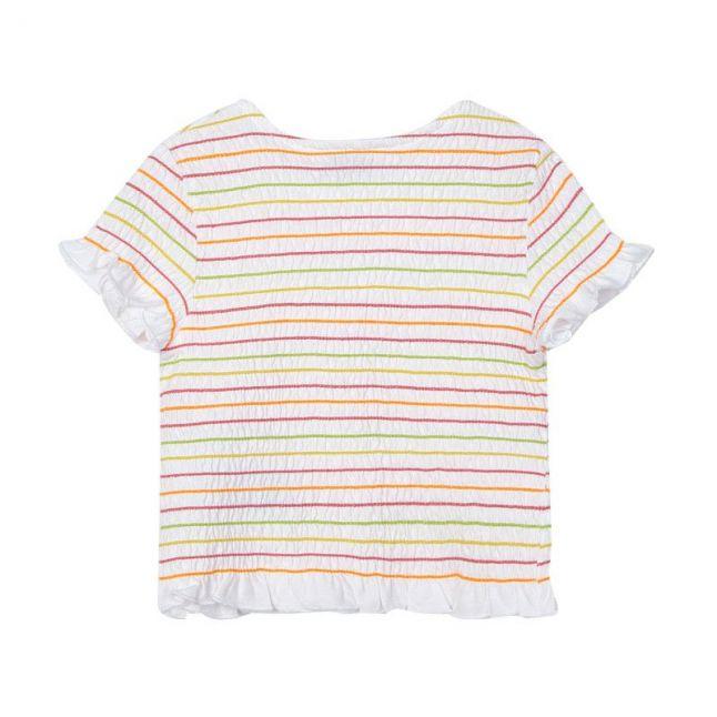 Girls White/Pink Smock Elastic Top