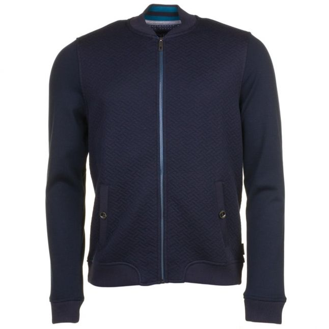 Mens Navy Bruno Quilted Bomber Sweat Top