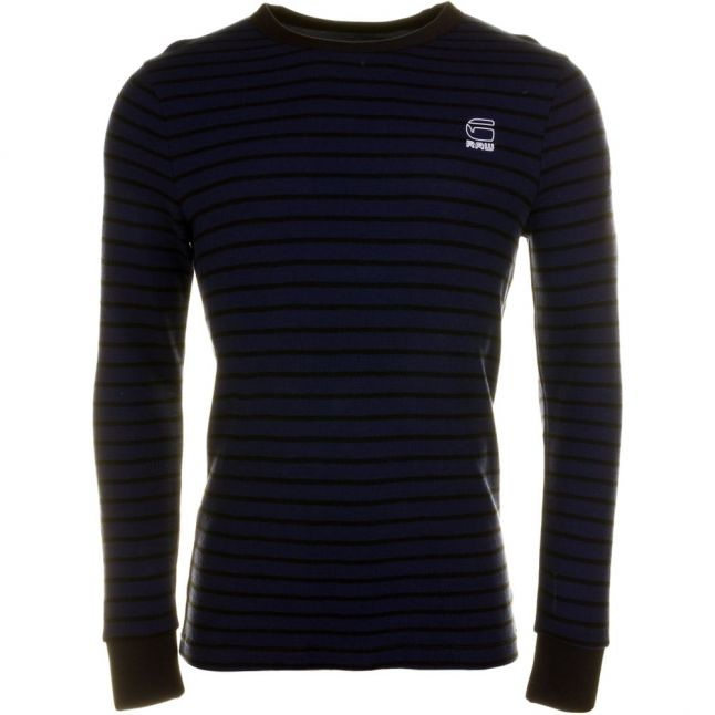 Mens Tench Blue Classic Bounded Stripe L/s Tee Shirt