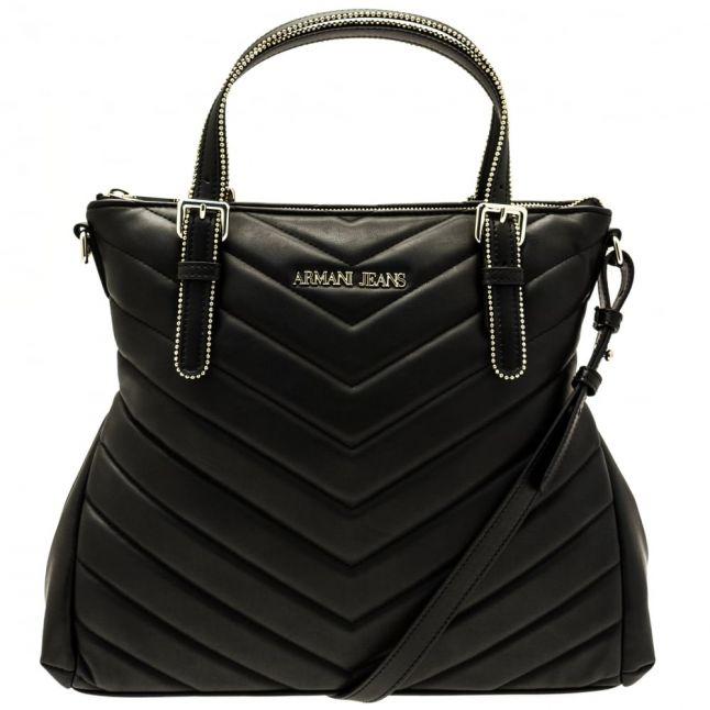 Womens Black Chevron Quilt Shopper Bag
