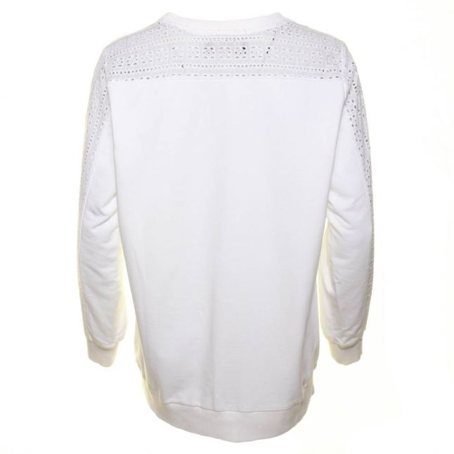 Womens White Abstract Sweat Top