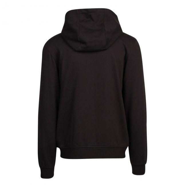 Mens Black Branded Hooded Zip Through Sweat Top