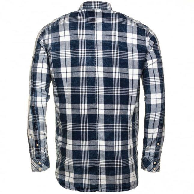 Mens Indigo & Milk Landoh Flannel Check L/s Shirt