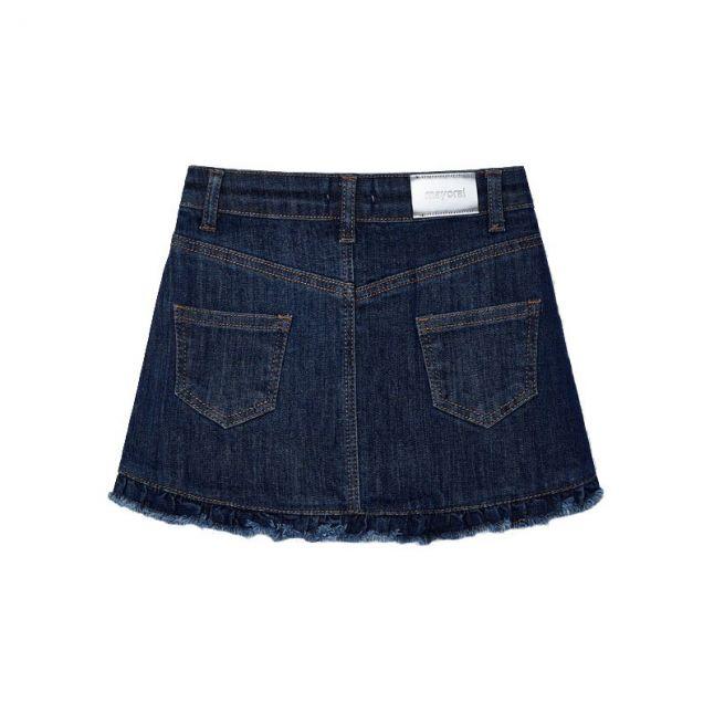 Girls Dark Blue Flower Denim Skirt