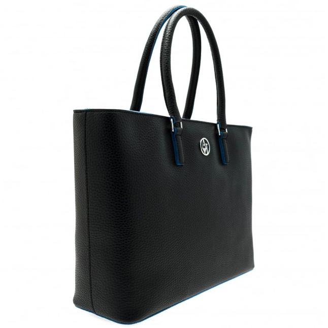 Womens Black Pebbled Effect Shopper Bag