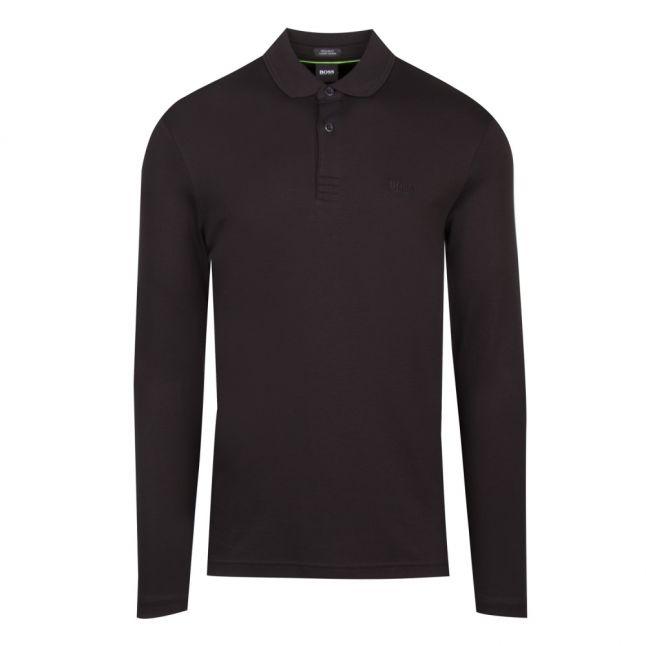 Athleisure Mens Black Pirol Regular Fit L/s Polo Shirt