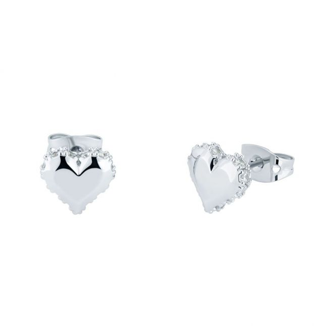 Womens Silver/Crystal Sersy Sparkle Heart Studs