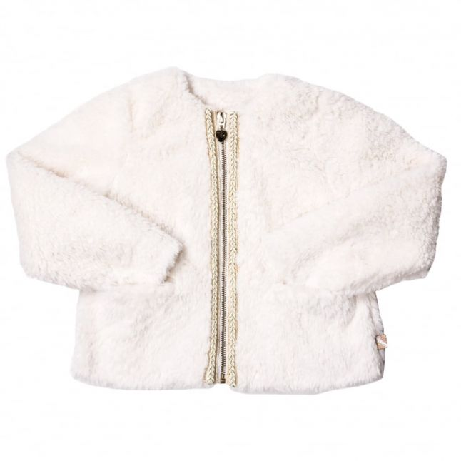 Girls White Embroidered Trim Faux Fur Zip Jacket