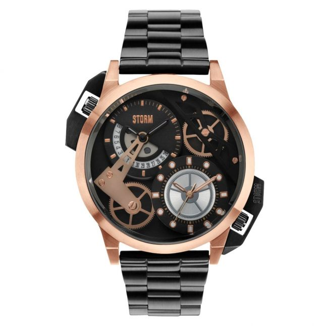 Mens Black Dial & Rose Gold Dualon Watch
