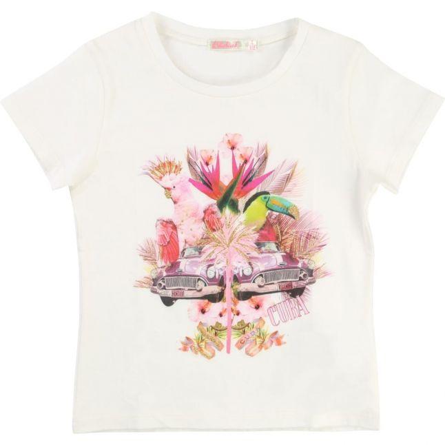 Girls White Cuba Printed S/s Tee Shirt