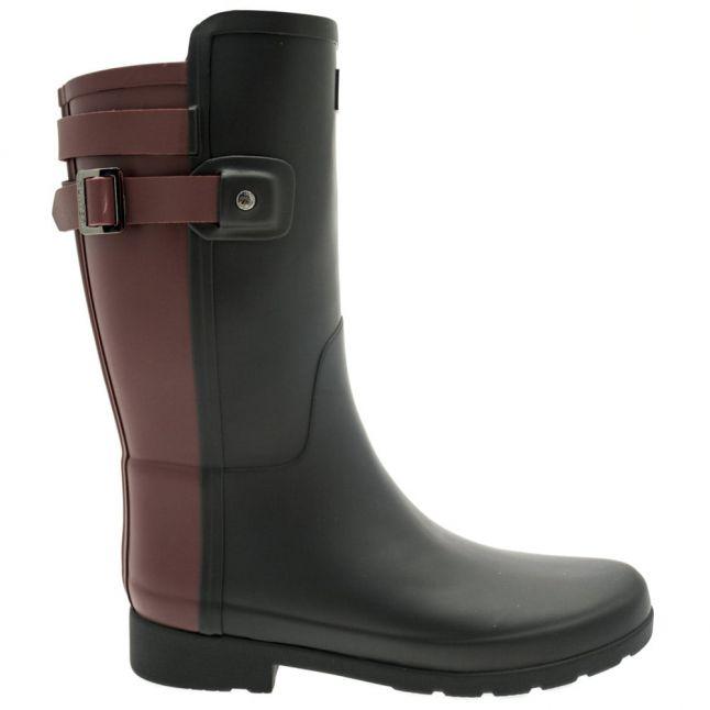 Womens Black & Dulse Original Refined Back Strap Short Wellington Boots