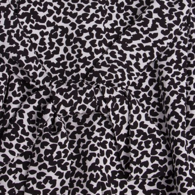 Womens Black/White Petal Viscose Jumpsuit