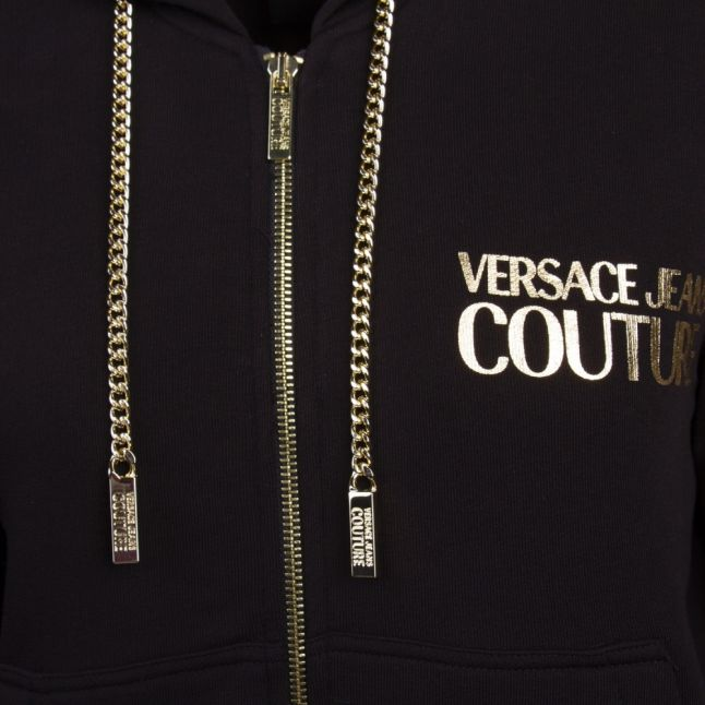 Womens Black Chain Detail Icon Hooded Zip Through Sweat Top