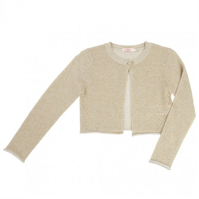 Girls Gold Cropped Knitted Cardigan