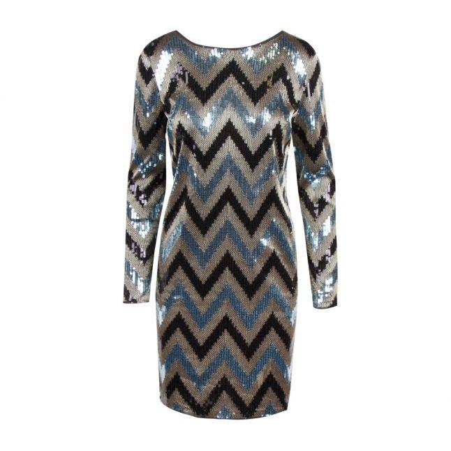 Womens Black Visparky Sequin Chevron Dress