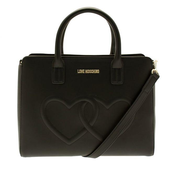Womens Black Heart Top Handle Tote Bag