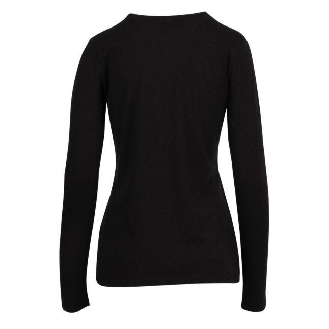 Womens Black Metallic Hearts Slim Fit L/s T Shirt
