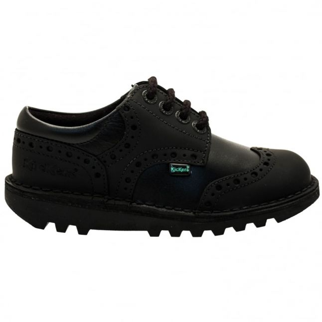 Junior Black Leather Kick Brogman (12.5-2.5)