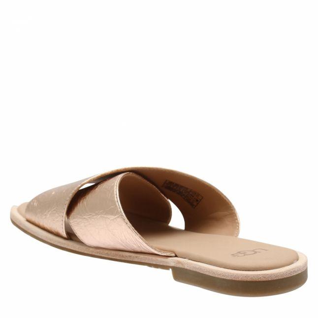 Womens Rose Gold Joni Metallic Leather Slides