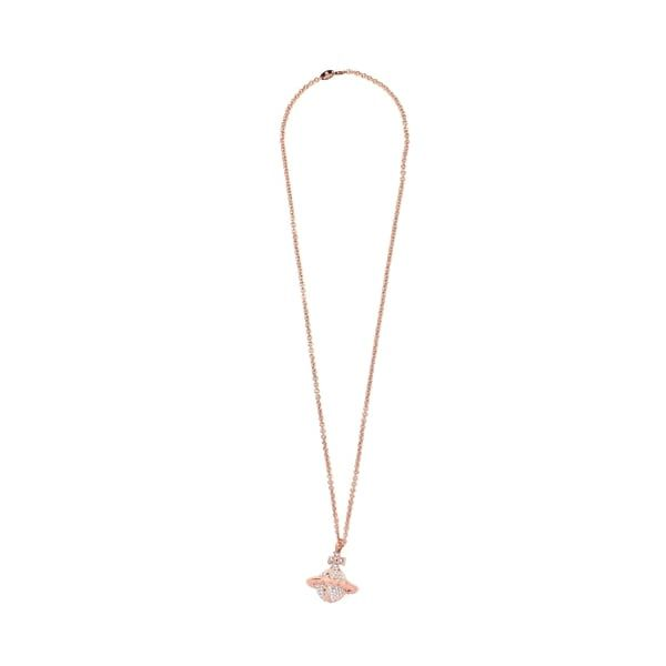 Womens Pink Gold/Crystal Mayfair 3D Large Orb Pendant Necklace