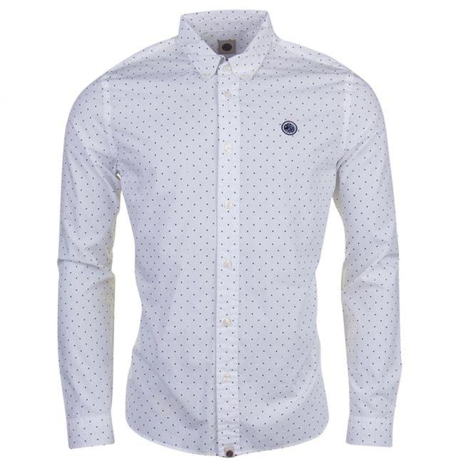 Mens White Polka L/s Shirt