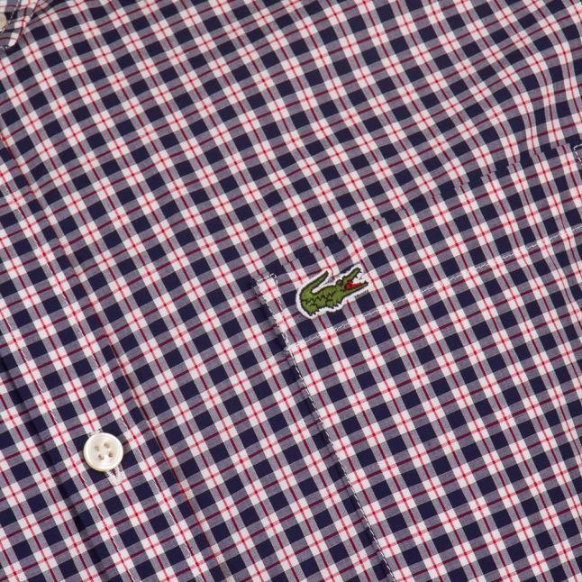Mens Anchor & White Check Slim Fit S/s Shirt