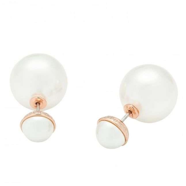 Womens Rose Gold & White Pearl Deliina Peal Studs