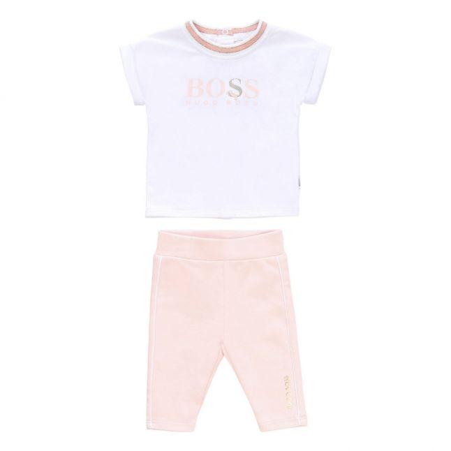 Baby White/Pink Logo T Shirt & Leggings Set