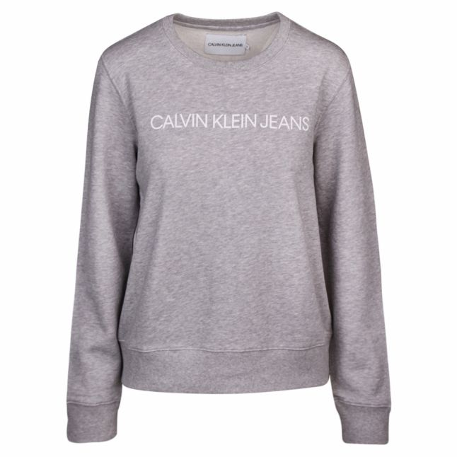 Womens Light Grey Heather Institutional Logo Sweat Top
