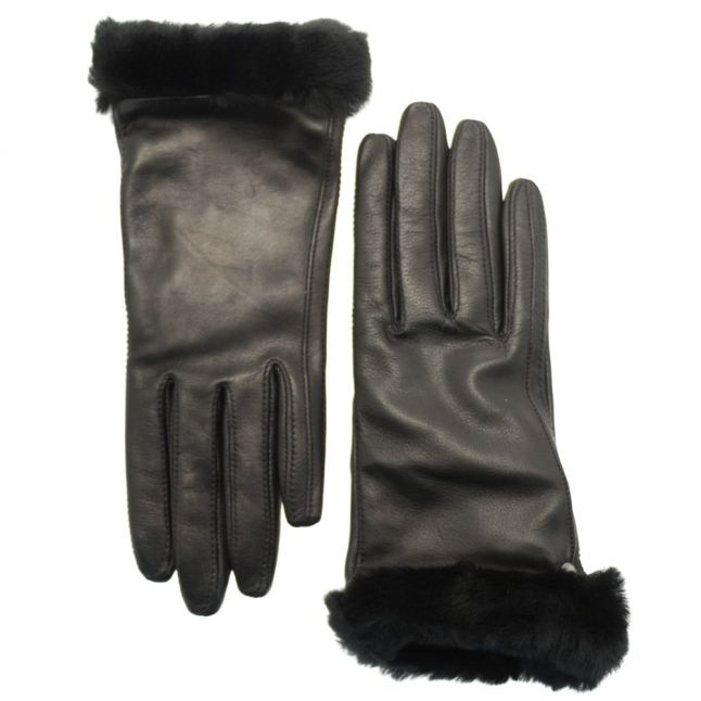 Womens Black Classic Leather Smart Technology Gloves