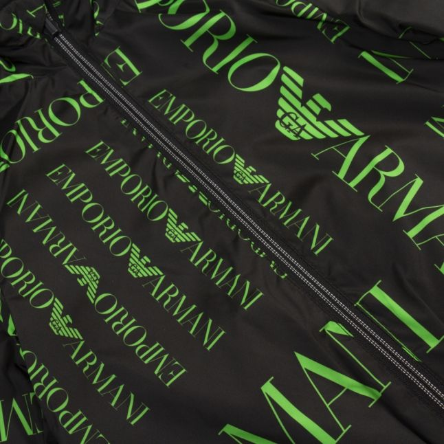 Boys Black/Green Large Logo Reversible Hooded Jacket