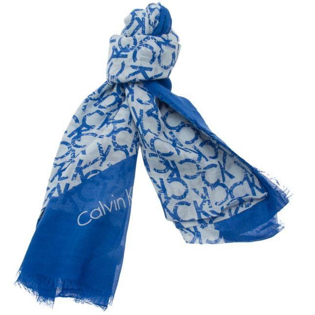 Womens Dazzling Blue CK Allover Logo Scarf