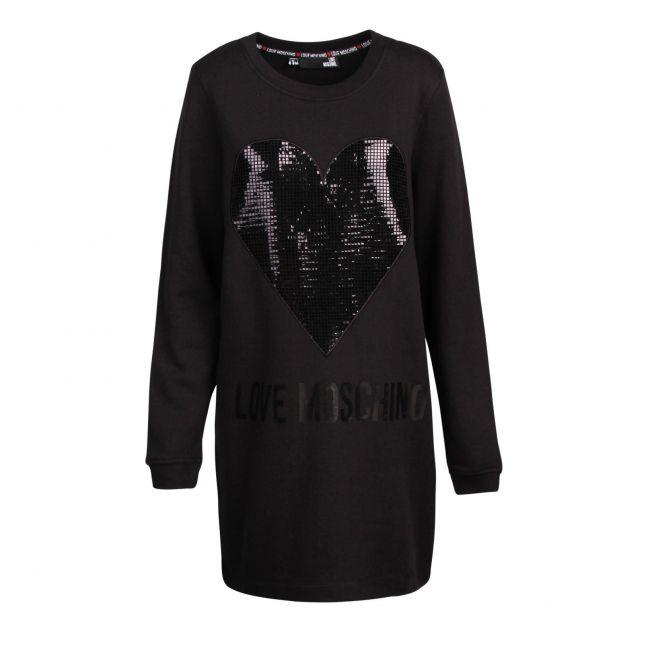 Womens Black Tonal Sequin Heart Dress