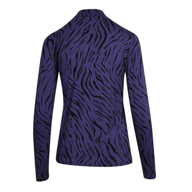 Womens Patriot Blue Vibulis Zebra High Neck L/s T Shirt